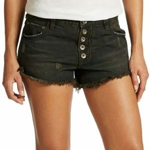 Free People Black Button Fly Cutt Off Shorts 30